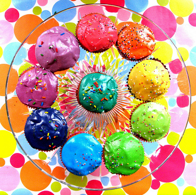 Cute Food Color Wheel Cupcakes